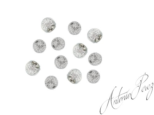 10 Billes Laiton Nervurées Chrome 3mm