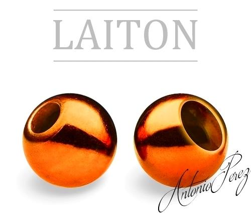 25 Billes Laiton 3mm Orange