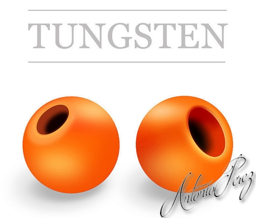 25 Billes Tungsten Orange Fluo