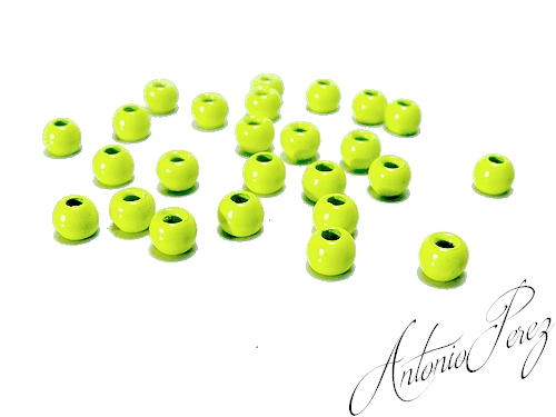 25 Billes Tungstène Chartreuse Fluo