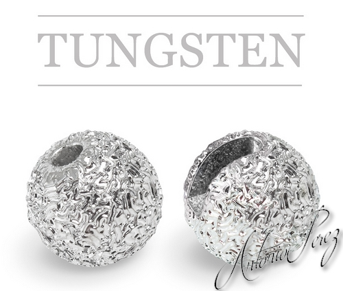 10 Billes Tungstène Fendues Nervurées Chrome 3mm