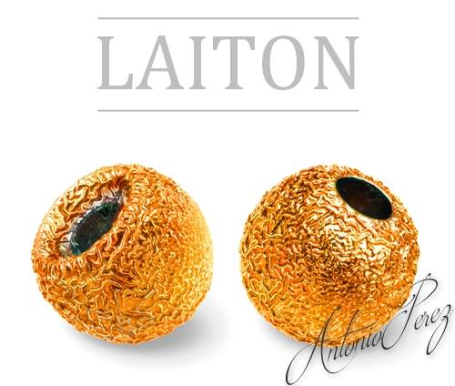 10 Billes Laiton Nervurées Orange 3mm