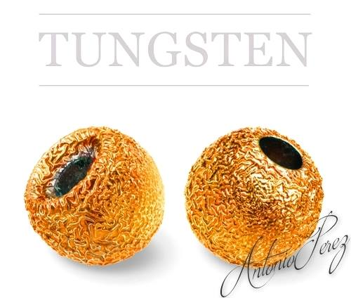 10 Billes Tungstène Nervurées Orange 3mm