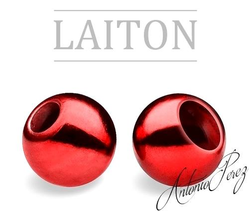25 Billes Laiton 3mm Rouge