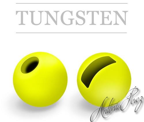 25 Billes Tungsten Fendues Chartreuse Fluo
