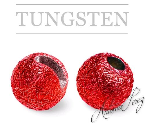 10 Billes Tungstène Fendues Nervurées Rouge 3mm