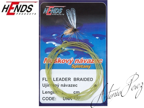 Fly Leader Braided Tapered HENDS Olive/60cm