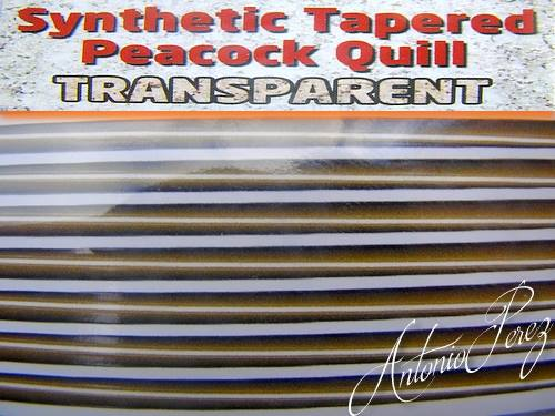 Synthetic Tapered Quill Olive Transparent Autocollant